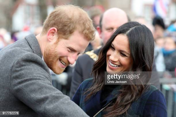 Prince Harry and Meghan Markle arrive to Edinburgh Castle on February 13 2018 in Edinburgh Scotland