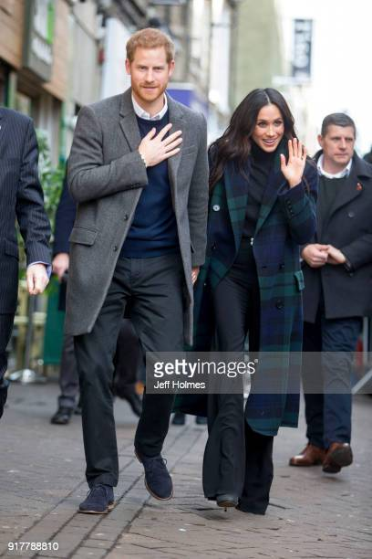 Prince Harry and Meghan Markle arrive to visit Social Bite to hear about their work with the homeless on February 13 2018 in Edinburgh Scotland