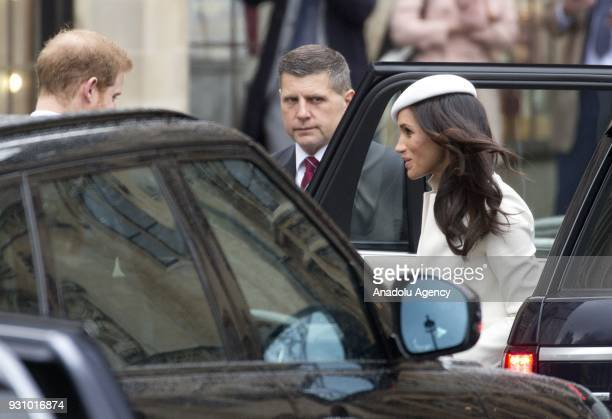 Prince Harry and Meghan Markle arrive to Westminster Abbey to attend a service accompanied by members of the Royal Family to celebrate Commonwealth...