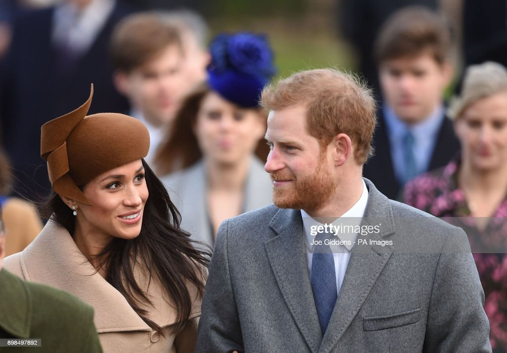 Prince Harry and Meghan Markle arriving to attend the Christmas Day morning church service at St Mary Magdalene Church in Sandringham, Norfolk.