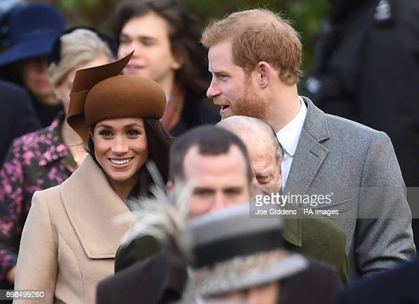 Prince Harry and Meghan Markle arriving to attend the Christmas Day morning church service at St Mary Magdalene Church in Sandringham Norfolk