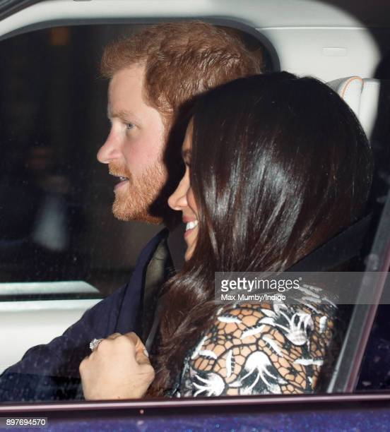 Prince Harry and Meghan Markle attend a Christmas lunch for members of the Royal Family hosted by Queen Elizabeth II at Buckingham Palace on December...