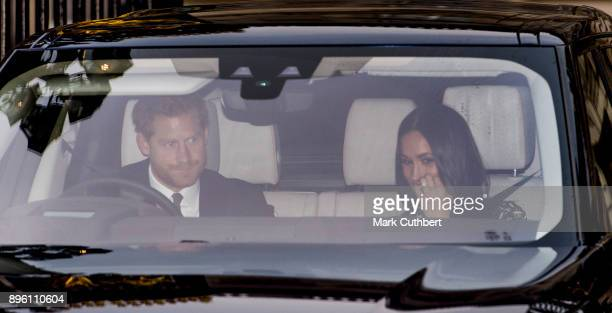Prince Harry and Meghan Markle attend a Christmas lunch for the extended Royal Family at Buckingham Palace on December 20 2017 in London England