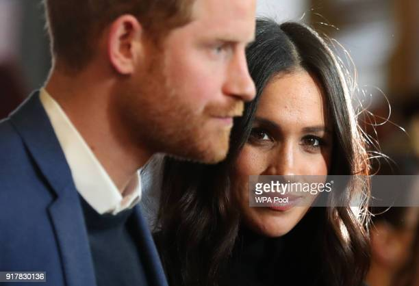 Prince Harry and Meghan Markle attend a reception for young people at the Palace of Holyroodhouse on February 13 2018 in Edinburgh Scotland