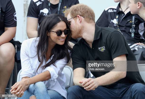 Prince Harry and Meghan Markle attend a Wheelchair Tennis match during the Invictus Games 2017 at Nathan Philips Square on September 25 2017 in...