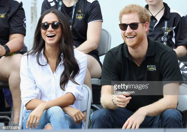 Prince Harry and Meghan Markle attend a Wheelchair Tennis match during the Invictus Games 2017 at Nathan Philips Square on September 25, 2017 in...