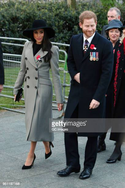 Prince Harry and Meghan Markle attend an Anzac Day dawn service at Hyde Park Corner on April 25 2018 in London England