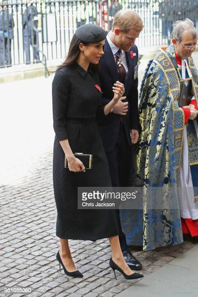 Prince Harry and Meghan Markle attend an Anzac Day Service of Commemoration and Thanksgiving at Westminster Abbey on April 25 2018 in London England...