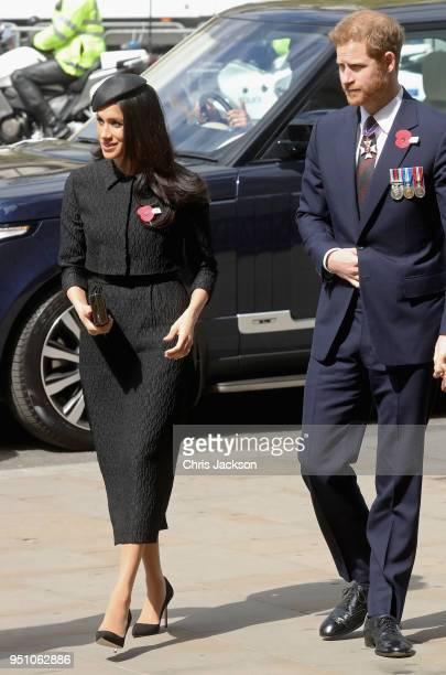 Prince Harry and Meghan Markle attend an Anzac Day Service of Commemoration and Thanksgiving at Westminster Abbey on April 25, 2018 in London,...