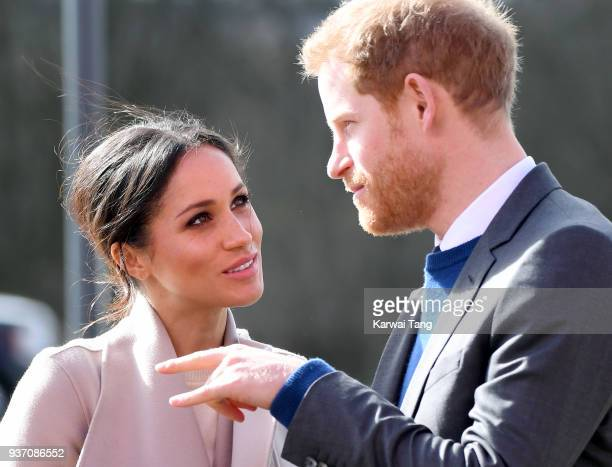 Prince Harry and Meghan Markle attend an event to mark the second year of youthled peacebuilding initiative Amazing the Space at the Eikon Exhibition...