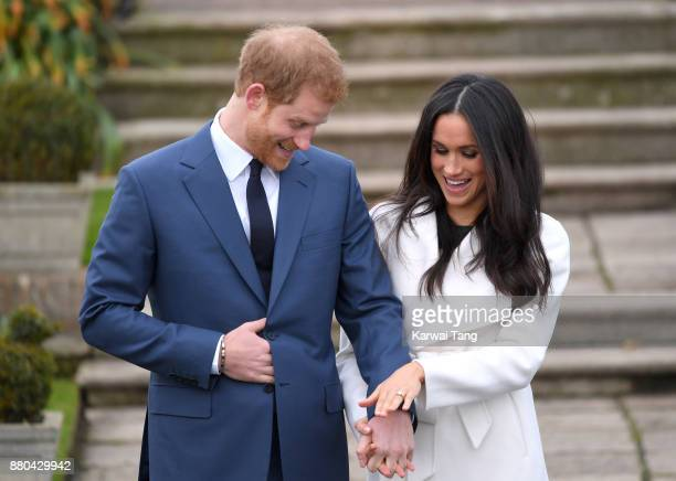 Prince Harry and Meghan Markle attend an official photocall to announce the engagement of Prince Harry and actress Meghan Markle at The Sunken...