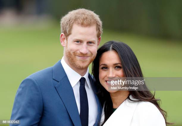Prince Harry and Meghan Markle attend an official photocall to announce their engagement at The Sunken Gardens, Kensington Palace on November 27,...