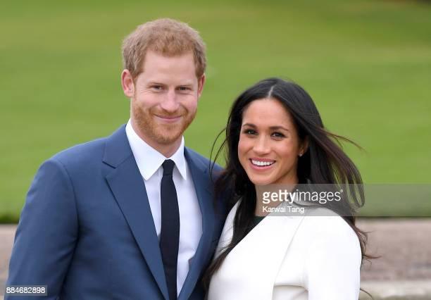 Prince Harry and Meghan Markle attend an official photocall to announce their engagement at The Sunken Gardens at Kensington Palace on November 27,...