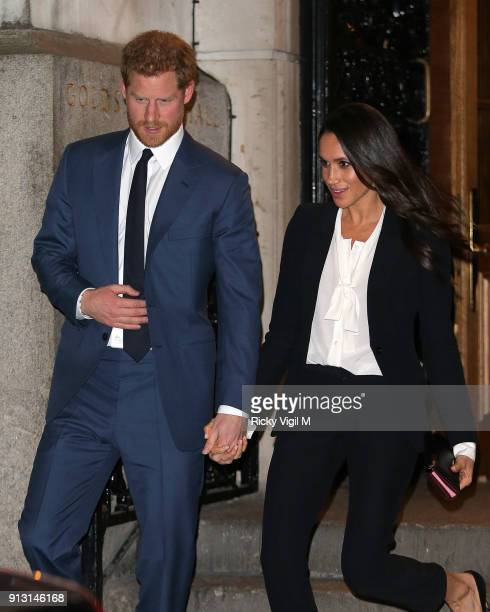 Prince Harry and Meghan Markle attend Endeavour Fund Awards Ceremony at Goldsmiths Hall on February 1 2018 in London England