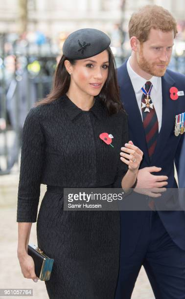 Prince Harry and Meghan Markle attend the Anzac Day service at Westminster Abbey on April 25, 2018 in London, England.