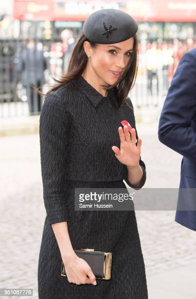 Prince Harry and Meghan Markle attend the Anzac Day service at Westminster Abbey on April 25 2018 in London England