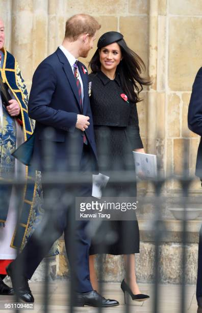 Prince Harry and Meghan Markle attend the Anzac Day service of Thanksgiving and Commemoration at Westminster Abbey on April 25 2018 in London England
