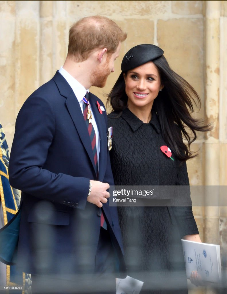 Prince Harry and Meghan Markle attend the Anzac Day service of Thanksgiving and Commemoration at Westminster Abbey on April 25, 2018 in London, England.
