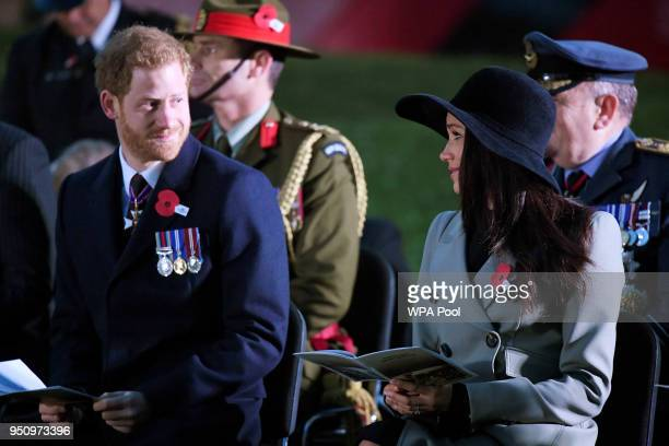 Prince Harry and Meghan Markle attend the Dawn Service at Wellington Arch to commemorate Anzac Day on April 25 2018 in London United Kingdom