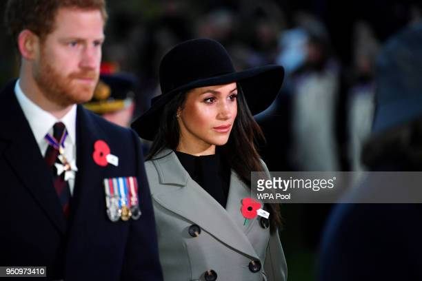 Prince Harry and Meghan Markle attend the Dawn Service at Wellington Arch to commemorate Anzac Day on April 25, 2018 in London, United Kingdom.