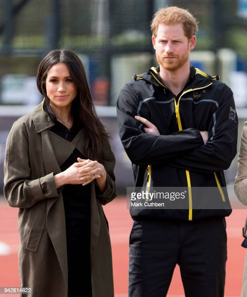 Prince Harry and Meghan Markle attend the UK Team Trials for the Invictus Games Sydney 2018 at University of Bath on April 6, 2018 in Bath, England.
