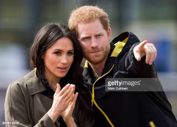 Prince Harry and Meghan Markle attend the UK Team Trials for the Invictus Games Sydney 2018 at University of Bath on April 6 2018 in Bath England