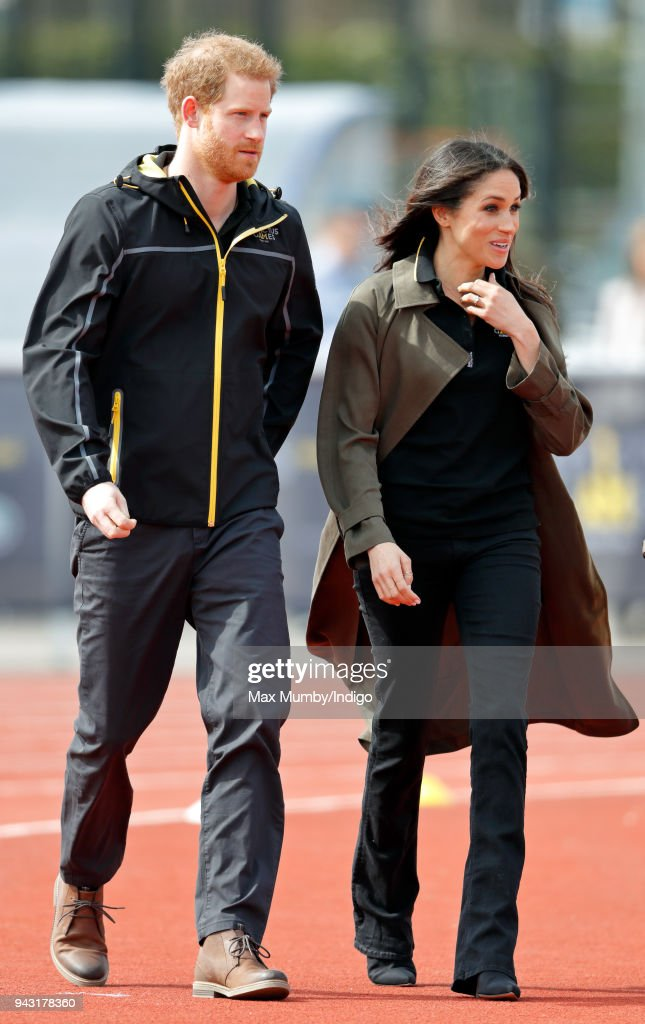 Prince Harry and Meghan Markle attend the UK Team Trials for the Invictus Games Sydney 2018 at the University of Bath on April 6, 2018 in Bath, England.