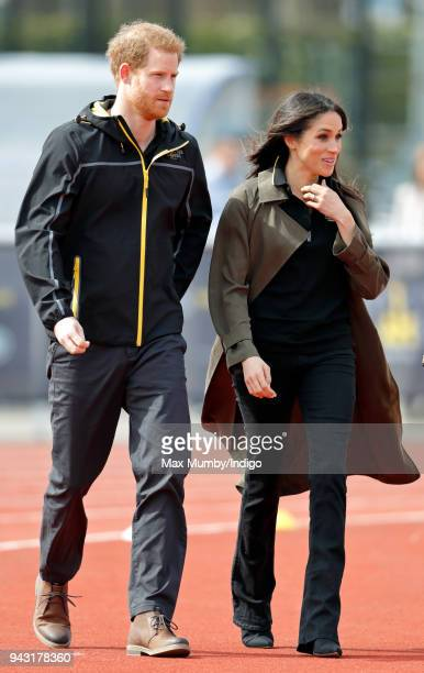 Prince Harry and Meghan Markle attend the UK Team Trials for the Invictus Games Sydney 2018 at the University of Bath on April 6 2018 in Bath England