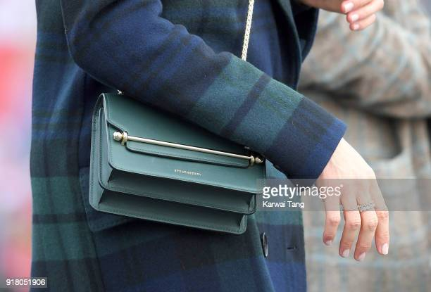 Prince Harry and Meghan Markle bag detail visit Edinburgh Castle during their first official joint visit to Scotland on February 13 2018 in Edinburgh...
