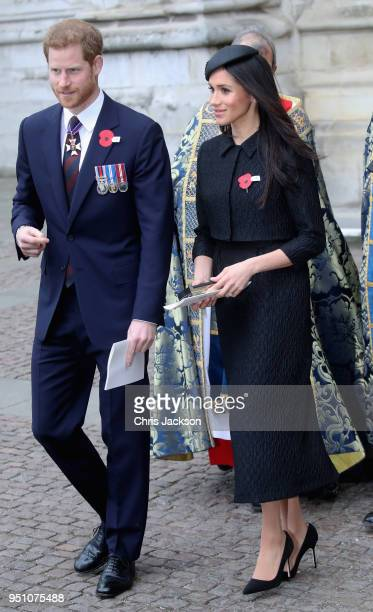 Prince Harry and Meghan Markle depart after attending an Anzac Day Service of Commemoration and Thanksgiving at Westminster Abbey on April 25 2018 in...