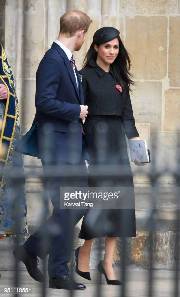 Prince Harry and Meghan Markle depart after attending the Anzac Day service of Thanksgiving and Commemoration at Westminster Abbey on April 25 2018...