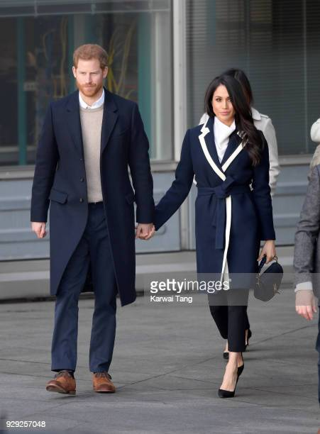 Prince Harry and Meghan Markle depart after visiting Millennium Point on March 8, 2018 in Birmingham, England.
