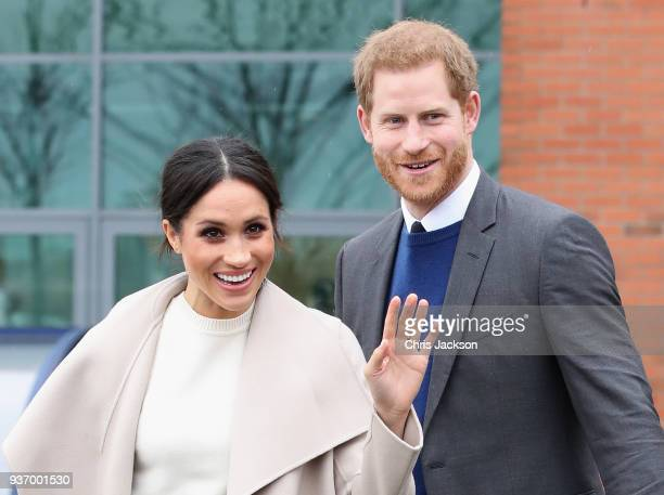 Prince Harry and Meghan Markle depart from Catalyst Inc Northern Ireland's next generation science park on March 23 2018 in Belfast Nothern Ireland
