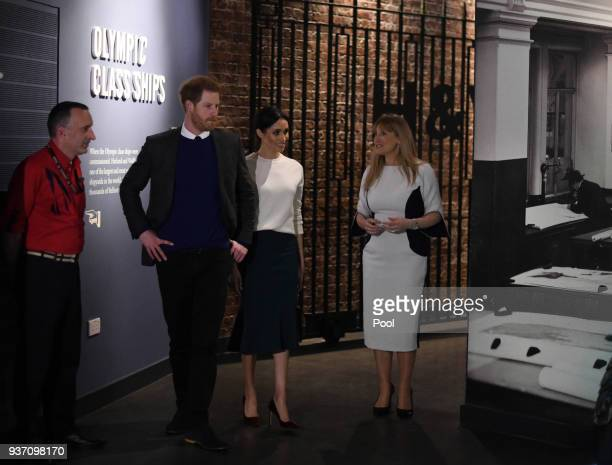 Prince Harry and Meghan Markle during a visit to Titanic Belfast maritime museum on March 23 2018 in Belfast Nothern Ireland