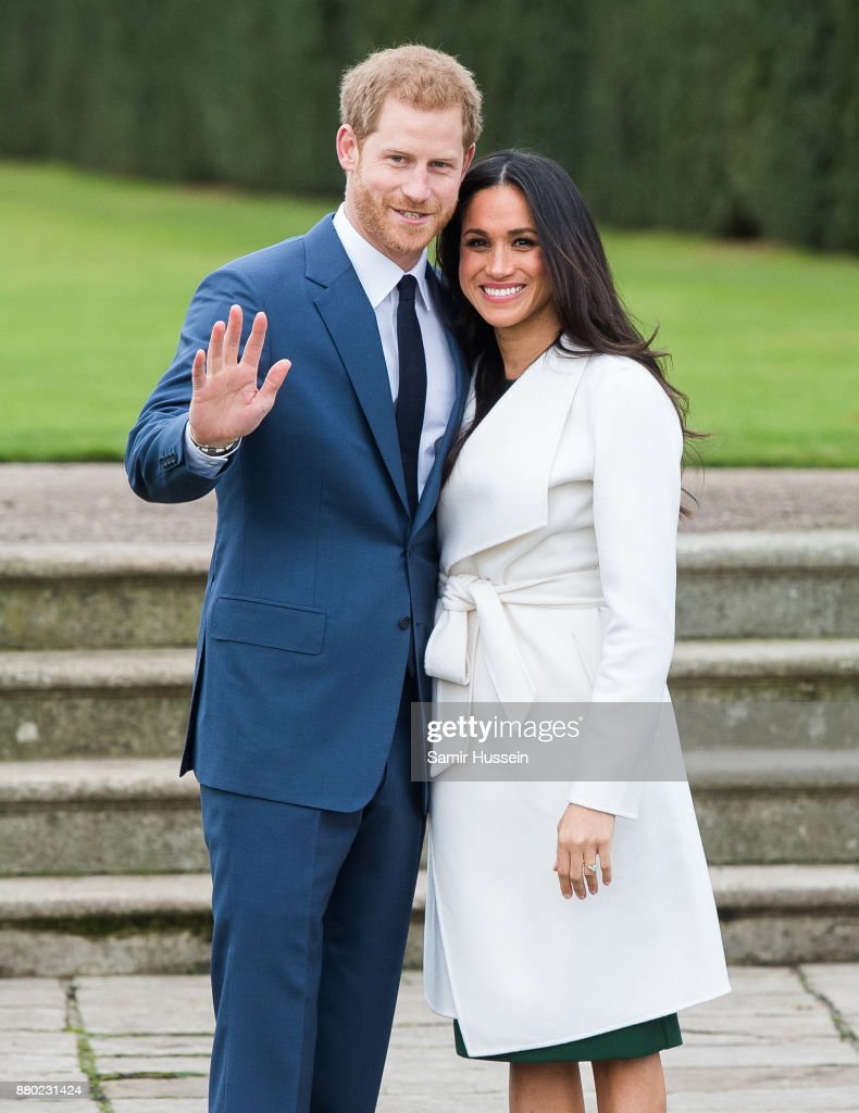Prince Harry and Meghan Markle during an official photocall to announce the engagement of Prince Harry and actress Meghan Markle at The Sunken Gardens at Kensington Palace on November 27, 2017 in London, England. Prince Harry and Meghan Markle have been a couple officially since November 2016 and are due to marry in Spring 2018.