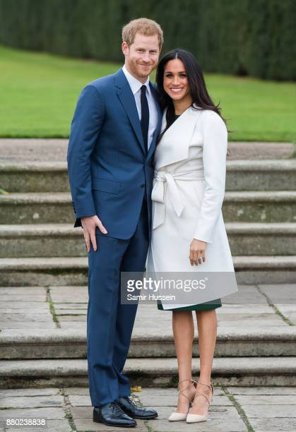 Prince Harry and Meghan Markle during an official photocall to announce the engagement of Prince Harry and actress Meghan Markle at The Sunken...
