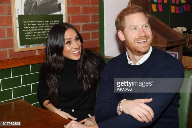Prince Harry and Meghan Markle during their visit Social Bite on February 13 2018 in Edinburgh Scotland