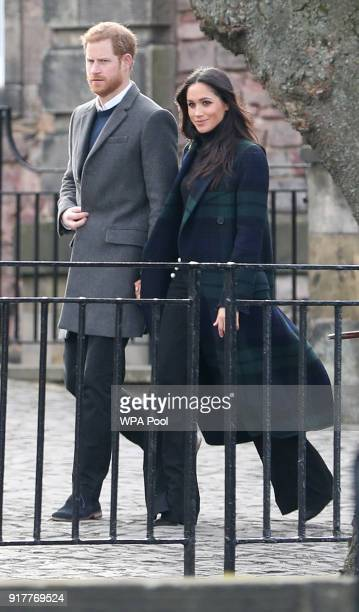 Prince Harry and Meghan Markle during their visit to Edinburgh Castle on February 13 2018 in Edinburgh Scotland