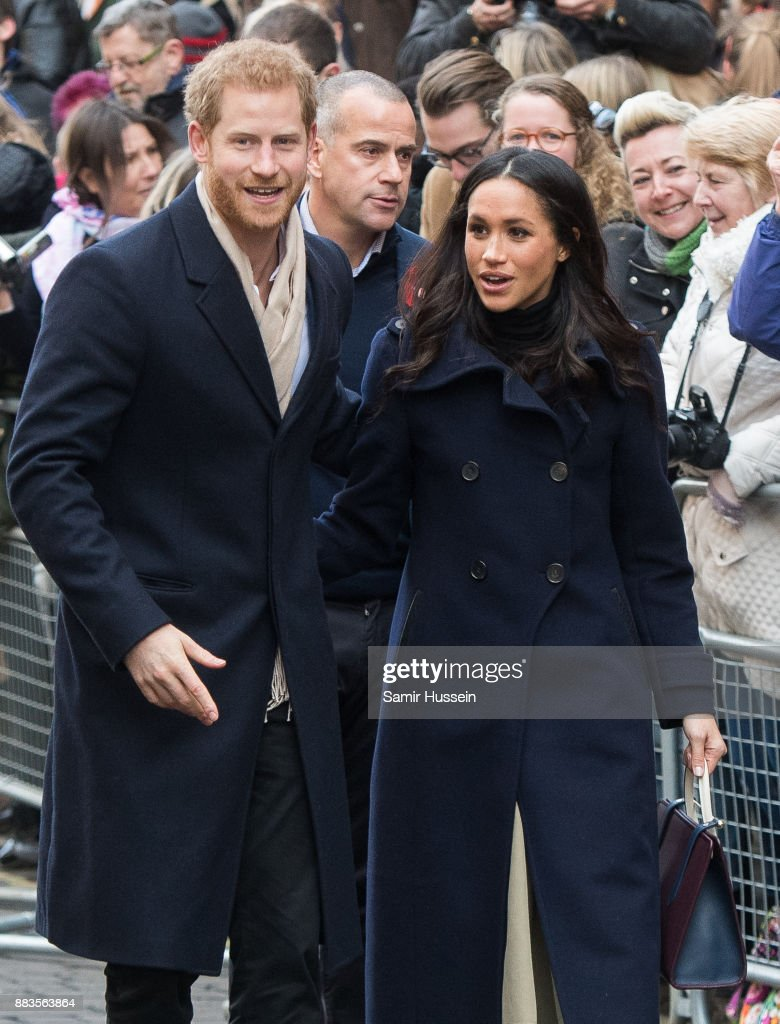 Prince Harry and Meghan Markle go on a walk about at Nottingham Contemporary on December 1, 2017 in Nottingham, England. Prince Harry and Meghan Markle announced their engagement on Monday 27th November 2017 and will marry at St George's Chapel, Windsor Castle in May 2018.