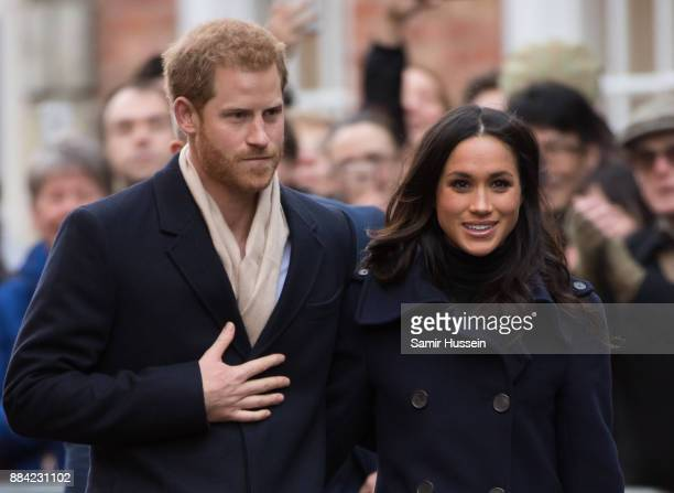 Prince Harry and Meghan Markle go on a walk about at Nottingham Contemporary on December 1 2017 in Nottingham England Prince Harry and Meghan Markle...