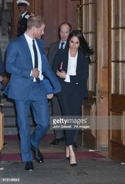 Prince Harry and Meghan Markle leave after attending the annual Endeavour Fund Awards at Goldsmiths' Hall in London which celebrates the achievements...