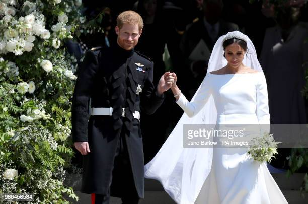 Prince Harry and Meghan Markle leave St George's Chapel in Windsor Castle after their wedding.