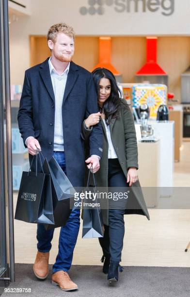 Prince Harry and Meghan Markle lookalikes are spotted shopping for wedding present ideas at the Smeg London store on May 01, 2018 in London, England.
