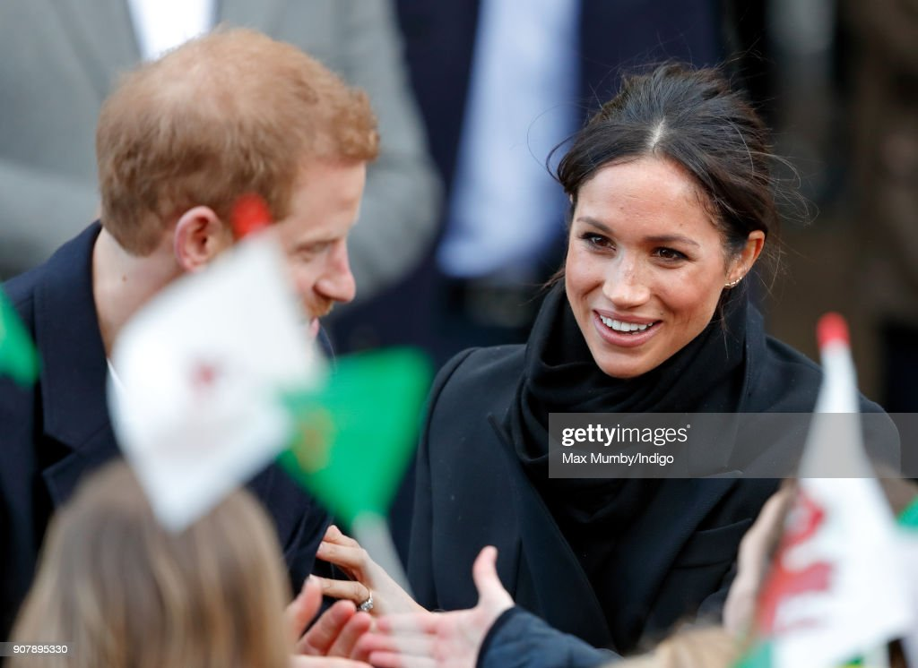 Prince Harry And Meghan Markle Visit Cardiff Castle : News Photo