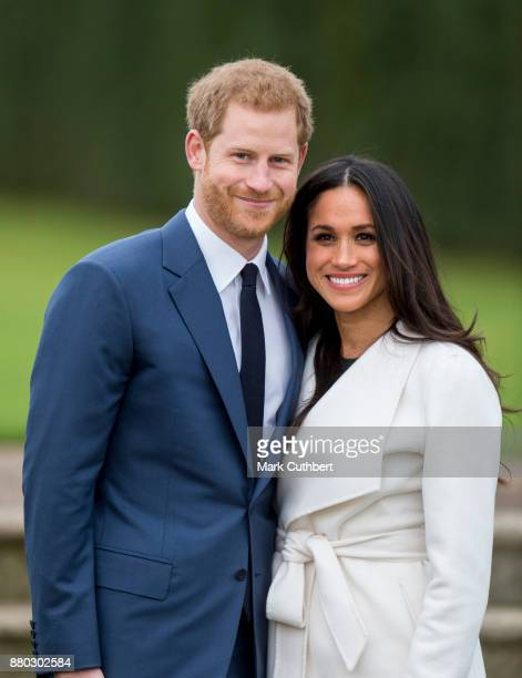 Prince Harry and Meghan Markle pose during an official photocall to announce the engagement of Prince Harry and actress Meghan Markle at The Sunken...