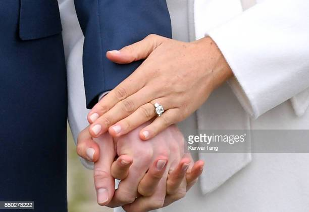 Prince Harry and Meghan Markle ring detail attend an official photocall to announce the engagement of Prince Harry and actress Meghan Markle at The...