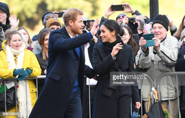 Prince Harry and Meghan Markle visit Cardiff Castle on January 18 2018 in Cardiff Wales
