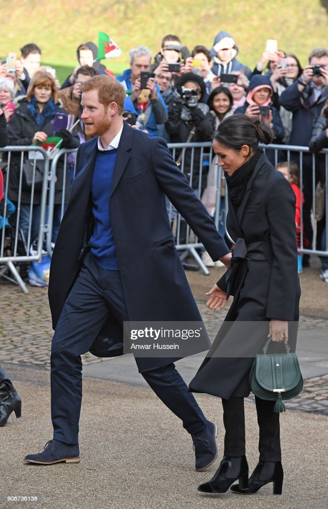 Prince Harry and Meghan Markle visit Cardiff Castle on January 18, 2018 in Cardiff, Wales.