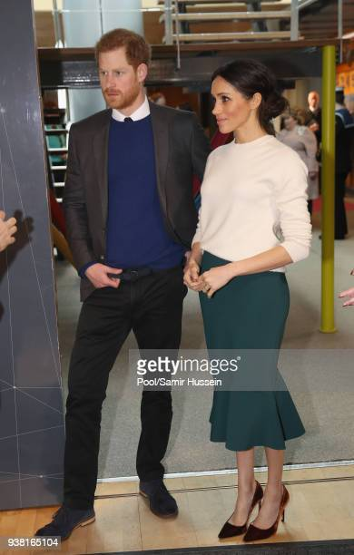 Prince Harry and Meghan Markle visit Catalyst Inc a next generation science park to meet young entrepreneurs and innovators on March 23 2018 in...