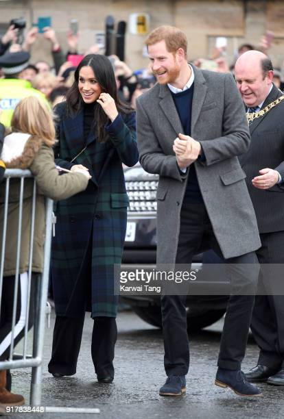Prince Harry and Meghan Markle visit Edinburgh Castle during their first official joint visit to Scotland on February 13, 2018 in Edinburgh, Scotland.